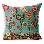 Cotton/Linen Pillow Cover , Floral Modern/Contemporary