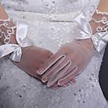 Wrist Length Fingertips/Fishnet Glove Satin/Lace Bridal Gloves