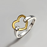 2016 Top Sale Simple Gold Color Heart 925 Silver Brand Fine Ring For Women