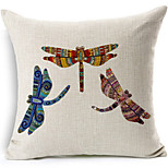 Three Dragonfly Cotton/Linen Printed Decorative Pillow Cover