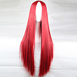 The New Animation Carved Red Long Straight Hair Wig 80CM