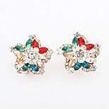 Women's Gorgeous Rhinestone Flower Fancy Clip On Stud Earrings