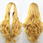 The new European and American high-temperature Yellow Long Curly Hair Wig80CM