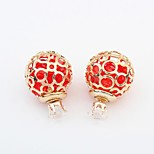 Women's Gorgeous Openwork Ball with Colorful Beads Stud Earrings