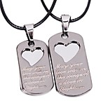 Tina -- Fashion Alloy Heart Pendant Leather Couple Necklace in Party