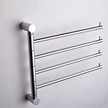 Silver-White  Wall-Mounted Space Aluminum Activities 4-Arm Towel Bar