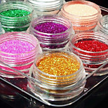 12Pcs Mixed Color Glitter Powder Nail Art Decorations