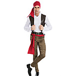 Costumes Pirate Halloween / Christmas / Carnival / New Year Red Solid / Patchwork Polyester Coat / Blouse / Pants / Belt