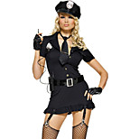 Sexy Girl Black Polyester Tight Dress Police Uniform with Tie(2 Pieces)