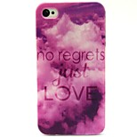 Purple Love Pattern TPU Soft Back Case for iPhone 4/4S