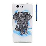 4.6 Inch Elephant Pattern TPU Soft Case and Pen Back Cover for Sony Xperia Z3 mini