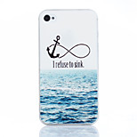 Sea Anchor Pattern TPU Material Soft Phone Case for iPhone 4/4S