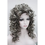 New Fashion Charming 50CM Brown Mix Grey Tip  Women's  Curly Synthetic Wig