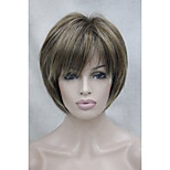 New Brown with Strawberry and Blonde highlight three tones short straight women's synthetic wig
