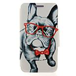 kinston® Glas Hund Tier Muster Ganzkörper-PU-Abdeckung mit Standplatz für htc eins M7 / M8 / M9 und HTC Desire 816/826 / Augen