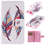 Colored Feather Patterns PU Leather Full Body Case with Stand and Card Slot for Sony Xperia Z4