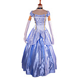 Pretty Cinderella Sleeveless  Sky Blue Full Dress Halloween Fairytale Costumes