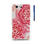4.6 Inch Flower Pattern TPU Soft Case and Pen Back Cover for Sony Xperia Z3 mini