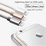 MFi Certified Lightning to USB Cable Aluminium Plug  Data Sync and Charger Cable for iphone 6/6plus/5s/5/ipad(100cm)