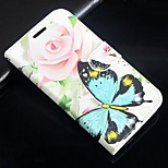 Rose butterfly pattern PU Leather Full Body Wallet Protective Case with Stand for Huawei P8/P8 LITE