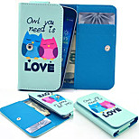 LOVE Owl PU Leather Wallet style Full Body Case and Card Slot for Sony Xperia M4 Aqua