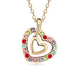Touch My Heart Short Necklace Plated with 18K Champagne Gold Light Rose Crystallized Austrian Crystal Stones