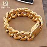 Kalen 2015 Men's Jewelry Stainless Steel High Quality Professional Gold Nugget Bracelet