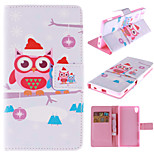 Cute Cartoon Owls Pattern PU Leather Full Body Case with Stand and Card Slot for Sony Xperia Z4