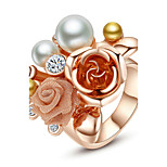 HKTC Women's Rose Gold Plated Simulated Pearl Crystal Flower  Finger Ring