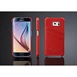 különleges design valódi bőr egyszínű kártya hátlap Samsung Galaxy S6 él / S6 (vegyes színes)