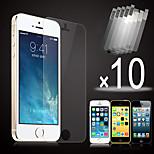 10pcs hd film écran devant transparent pour l'iphone 5 / 5s / 5c