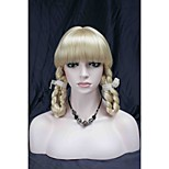 New Cute Theater Cosplay Bangs Pale Blonde Wig With Two Braids