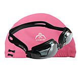 JIEJIA Anti-Fog Myopia Swimming  Goggles OPT1003 (- 400 Degrees) Black + HONGRUIKE  Cloth Caps Pink Combination