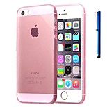 4 Inch Thin Silicone Transparent Case Cover with Pen for iPhone 5/5S(Assorted Colors)