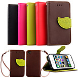 Luxury PU Leather Skin Flip Stand Cover Case For iPhone 4 4S Phone Shell Leaf Pouch Wallet Handbag + Lanyard+Card Slot