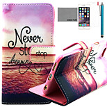 COCO FUN® Sunset Beach Pattern PU Leather Case with Screen Protector and Stylus for iPhone 6