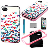 COCO FUN® Small Heart Pattern Soft TPU Back Case Cover with Screen Protector and Stylus for iPhone 4/4S