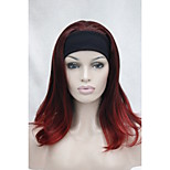 New Fashion 3/4 Wig With Headband Red Mix Long Straight Wavy End Half Wig M135