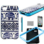 COCO FUN® Elephant Trible Pattern Soft TPU Back Case Cover with Screen Protector and Stylus for iPhone 4/4S