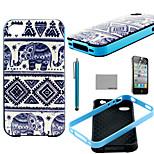 Le motif éléphant trible de coco TPU douce couvrent affaire avec protecteur d'écran et un stylet pour iPhone 4 / 4S