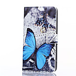 Blue Butterfly Pattern PU Leather Full Body Case with Stand and Card Slot for Microsoft Lumia 640 XL