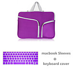 Top Selling Solid Color Canvas Zipper Sleeve with Keyboard Cover for Macbook Air 13.3 (Assorted Colors)