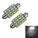 2pcs Festoon 41mm 1.5W 16x3528SMD 80-100LM 6000-6500K Cool White Light Reading Lamp LED Car Light (DC 12V)