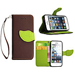 Luxury PU Leather Skin Flip Stand Cover Case For iPhone 5S 5C Phone Shell Leaf Pouch Wallet Handbag + Lanyard+Card Slot