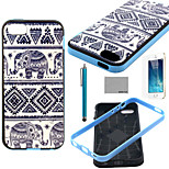 COCO FUN® Elephant Trible Pattern Soft TPU Back Case Cover with Screen Protector and Stylus for iPhone 5/5S
