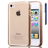 3.5 Inch Thin Silicone Transparent Case Cover with Pen for iPhone 4/4S (Assorted Colors)