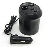 Tirol 12V 2-Way Cup Holder Auto Cigarette Adapter with 2USB  Car Charger 5V/2A Splitter Lighter Power