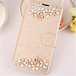 cristal de diamante de superficie mirada del cuero de la PU caso caso de cuerpo completo con pie de apoyo para el iphone 5