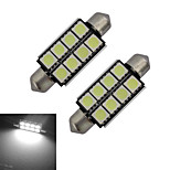 2pcs Festoon 42mm 1.5W 8x5050SMD 150-170LM 6000-6500K Cool White Light LED Car Light (DC 12V)