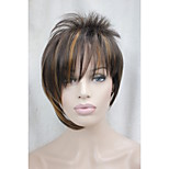 Asymmetric Brown Mix Strawberry Blonde Inclined Bangs Short Straight Synthetic Hair Women's Wig